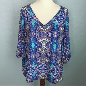 Renee C by Stitch Fix Printed Blouse S